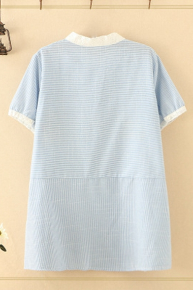 Trendy Womens Cat Embroidery Striped Contrasted Short Sleeve Crew Neck Button up Relaxed Shirt Top in Blue