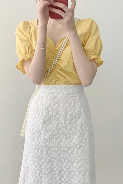 Chic Girls Plain Puff Sleeve Sweetheart Neck Ruched Stringy Selvedge Regular Fit Blouse Top