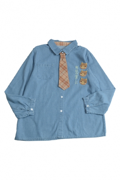 Cool Girls Japanese Letter Cartoon Bear Face Embroidery Pleated Pocket Button Down Plaid Tie Oversized Denim Shirt in Blue