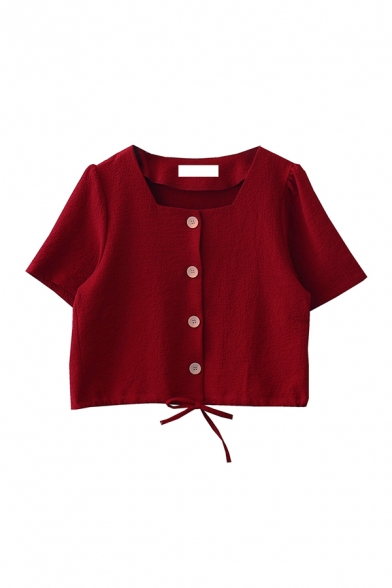 Cute Girls Solid Color Drawstring Button Down Square Neck Short Sleeve Relaxed Fit Crop Blouse