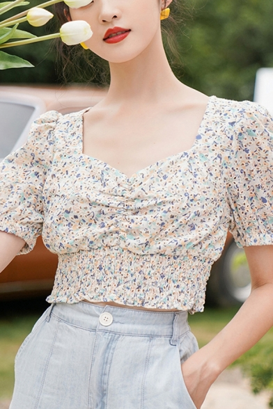 Fancy Womens Ditsy Flower Printed Puff Sleeve Sweetheart Neck Ruched Elastic Hem Fit Cropped Top