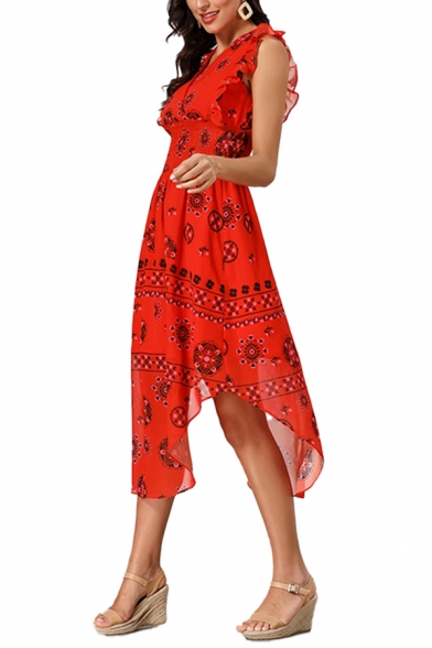 Fashionable All over Floral Printed Ruffled Trim Sleeveless Surplice Neck Gathered Waist Curved Hem Mid Pleated A-line Dress in Red