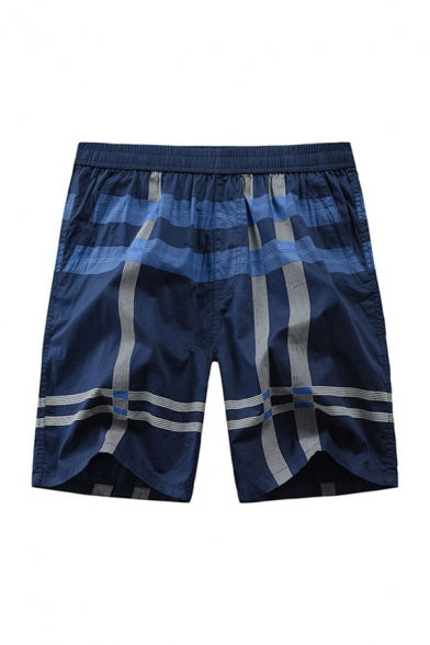 Mens Cozy Shorts Striped Printed Pocket Elasticated Waist Straight Fit Knee-length Track Shorts