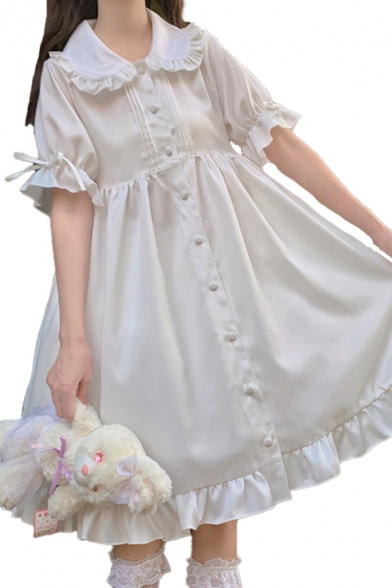 Novelty Girls Solid Color Pleated Button Down Ruffle Trim Peter Pan Collar Short Puff Sleeve Midi A Line Dress in White