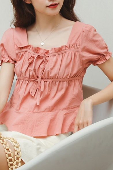 Pretty Girls Solid Color Puff Sleeve Square Neck Bow Tied Ruffled Trim Regular Fit Shirt