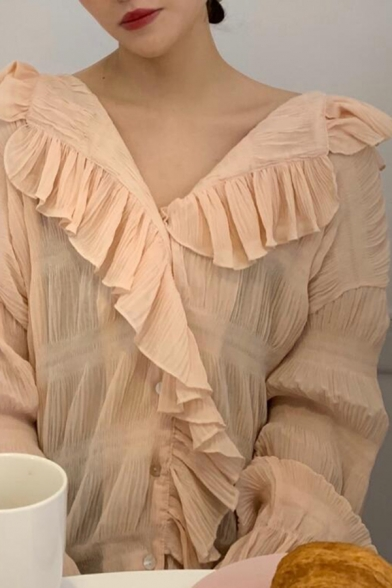 Pretty Solid Color Chiffon Ruffled Trim Long Sleeve V-neck Button up Loose Fit Shirt for Girls