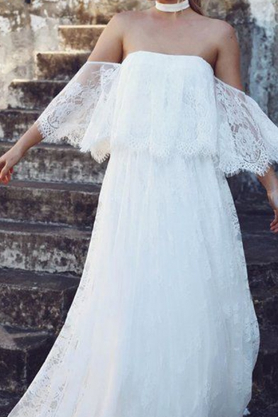 Pretty Womens Sheer Lace Off the Shoulder Maxi Pleated Flowy Dress in White