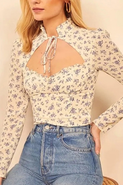 Sexy Womens Ditsy Floral Print Long Sleeve Stand Collar Bow Tied Cut out Fitted T Shirt in Beige