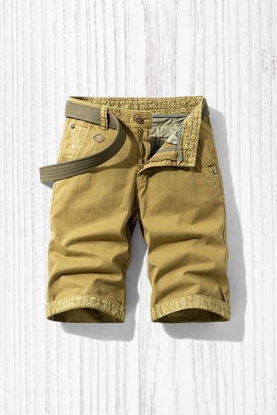 Stylish Mens Shorts Patterned Zip Fly Button Detail Knee Length Straight Fit Chino Shorts with Pockets