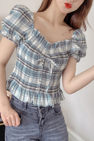 Stylish Womens Tartan Printed Puff Sleeve Square Neck Ruffled Bow Tied Front Pleated Fit Crop Blouse