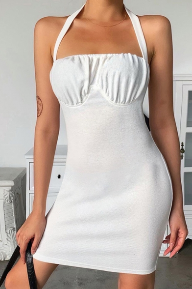 Stylish Womens White Halter Ruched Short Fitted Cami Dress