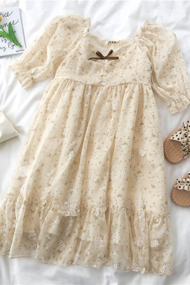 Trendy Girls Ditsy Floral Printed Bow Ruched Pleated Patchwork Ruffle Trim Square Neck Half Puff Sleeve Midi Swing Dress in Apricot