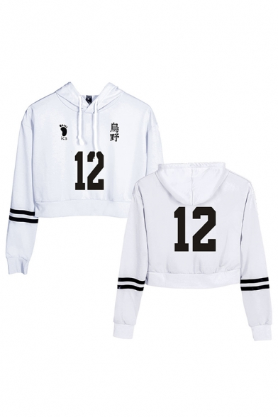 Trendy Girls Number 9 Letter Footprint Pattern Striped Long Sleeve Drawstring Drawstring Relaxed Fit Cropped Graphic Hoodie