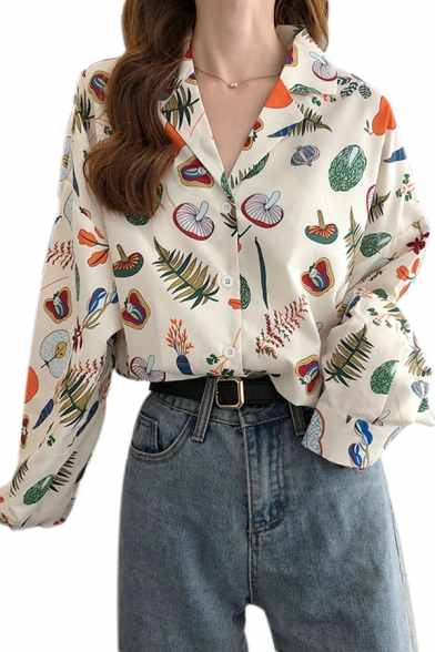 Unique Womens Allover Cartoon Mushroom Leaf Print Long Sleeve Notched Collar Button down Loose Shirt in White
