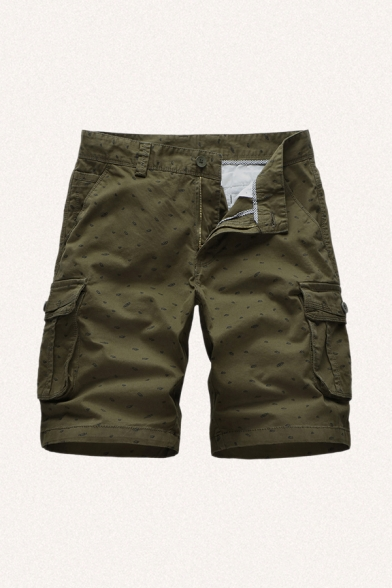 Casual Men's Shorts Patterned Zip Fly Drawstring Button Detail Straight Fit Cargo Shorts with Flap Pocket