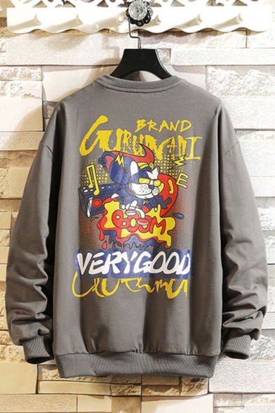 Cool Letter Brand Cartoon Cat Graphic Long Sleeve Crew Neck Relaxed Pullover Sweatshirt for Men