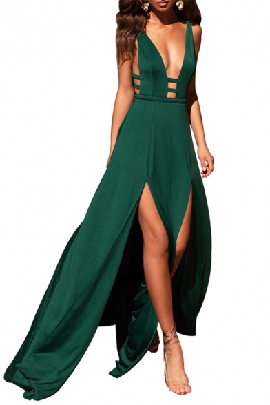 Designer Sleeveless Plunging Neck Hollow out Slit Sides Maxi Flowy Tank Dress in Green