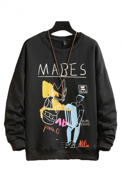 Dressy Mens Character Letter Mabes Ponta Printed Pullover Long Sleeve Round Neck Regular Fitted Graphic Sweatshirt