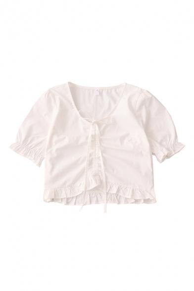 Elegant Girls Solid Color Ruched Drawstring Ruffle Cuff V Neck Short Puff Sleeve Regular Fit Crop Shirt