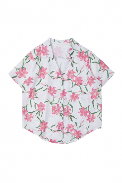 Fancy All-over Floral Pattern Shrot Sleeve Notched Collar Button-down Curved Hem Loose Shirt in White