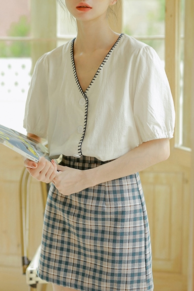 Fancy Girls Puff Sleeves V-neck Contrast Stitch Button up Relaxed Loose Fit Shirt in White