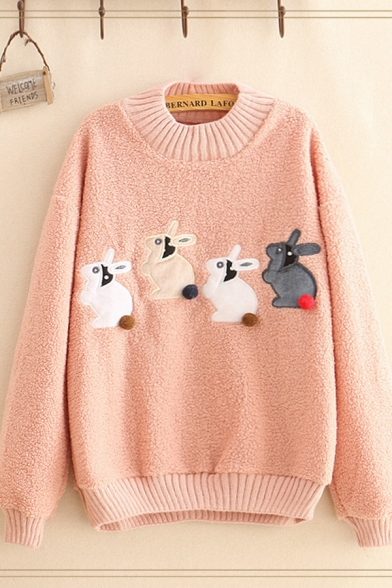 Fancy Girls Sherpa Rabbit Embroidered Long Sleeve Knit Trimmed Crew Neck Loose Pullover Sweatshirt