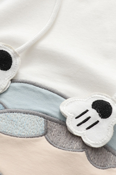 Hot Popular Womens Color Block Cartoon Cat Face Embroidery Printed Drawstring Hooded Short Sleeve Relaxed Fit Hoodie