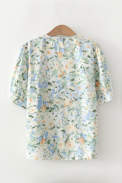 Hot Summer Girls Floral Printed Floral Embroidered Detail Lapel Collar Short Puff Relaxed Fitted Shirt