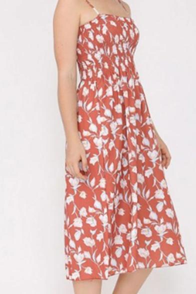 Ladies Ditsy Floral Printed Spaghetti Straps Cute Mid A-line Slip Dress