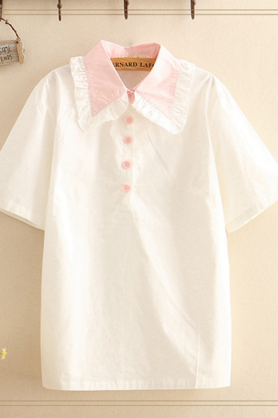 Lovely Girls Stringy Selvedge Peter Pan Collar Button up Short Sleeve Contrasted Relaxed Fit Shirt in White