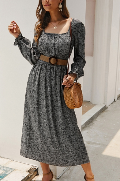 Popular Ladies Ditsy Floral Printed Long Sleeve Square Neck Gathered Waist Slit Side Maxi Pleated A-line Dress in Black