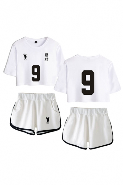 Sportswear Womens Number 9 Footprint Graphic Short Sleeve Crew Neck Relaxed Crop Tee & Contrast Piped Shorts Set