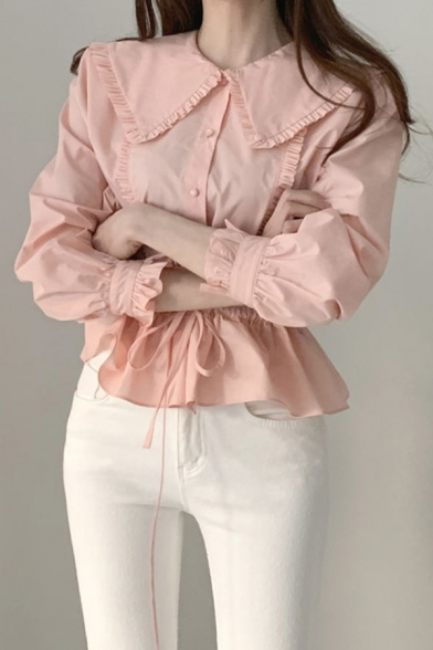 Stylish Solid Color Stringy Selvedge Drawstring Waist Long Sleeve Peter Pan Collar Regular Fit Shirt