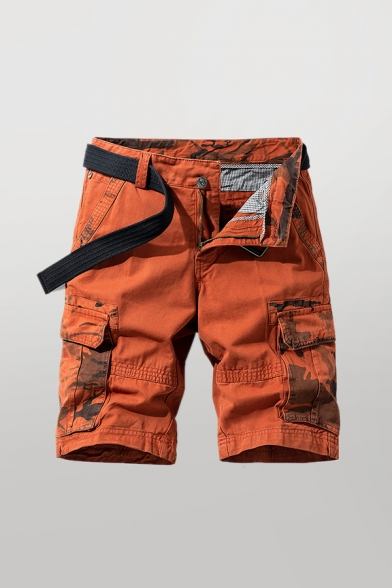 Trendy Mens Shorts Color Block Camo Print Zip Fly Button Detail Knee Length Straight Fit Chino Cargo Shorts with Flap Pockets