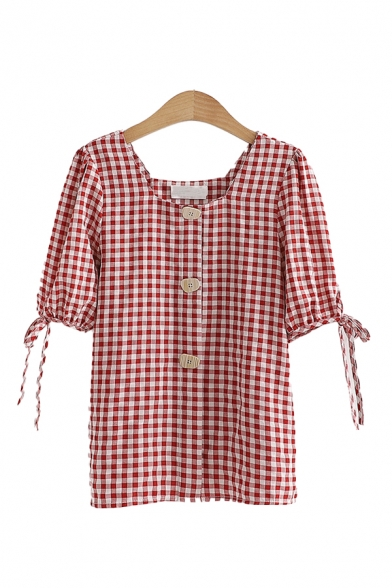Trendy Womens Tie Detail Button Down Plaid Square Neck Short Sleeve Regular Fit Shirt Top