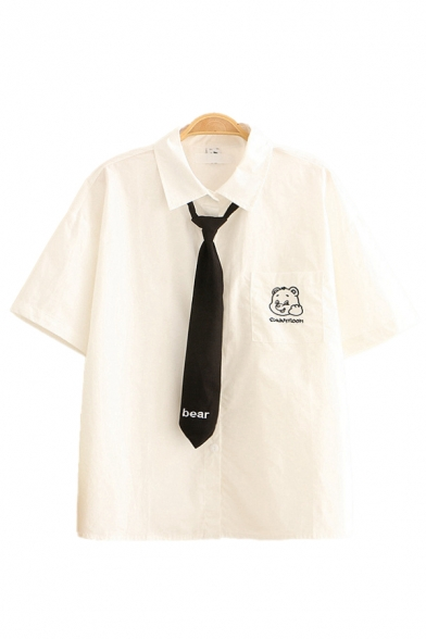 White Bear Letter Embroidery Chest Pocket Short Sleeve Turn down Collar Button down Relaxed Stylish Shirt with Tie
