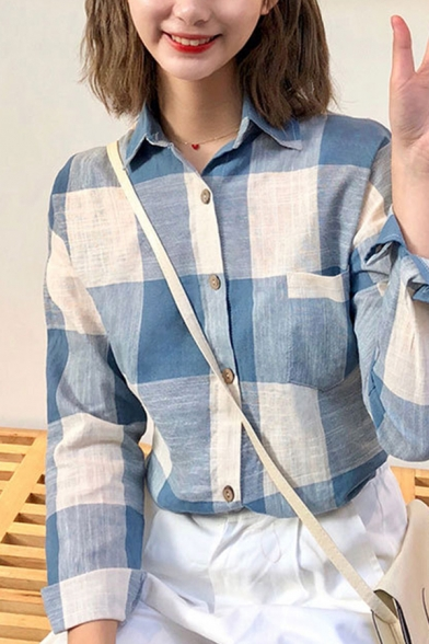 Casual Ladies Checkered Pattern Long Sleeve Spread Collar Chest Pocket Relaxed Shirt