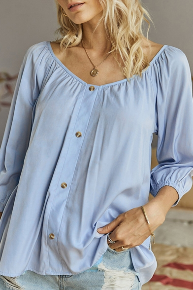 Casual Plain Button up V Neck 3/4 Sleeve Relaxed Fit Pullover Shirt for Women