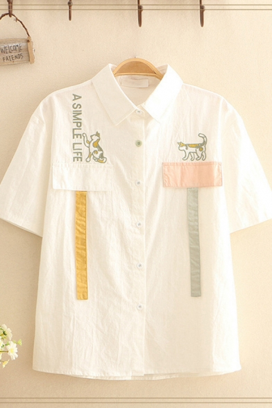 Chic Letter A Simple Life Dog Embroidered Panel Straps Short Sleeve Point Collar Loose Shirt Top in White