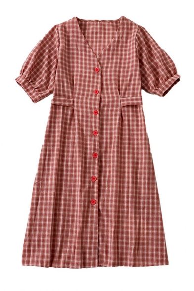 Chic Womens Plaid Button Down Pleated Bow Back V Neck Short Puff Sleeve Midi A Line Dress