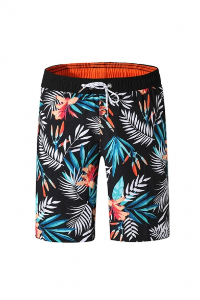 Creative Mens Plant Pattern Drawstring Pocket Knee Length Regular Fitted Shorts