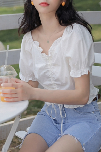 Cute Girls Puff Sleeve Sweetheart Neck Drawstring Front Stringy Selvedge Regular Fit Plain Top