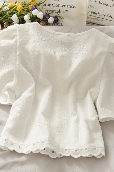 Elegant Ladies Solid Color Embossed Print Pearl Button Down Patched Lace Trim Cut Out Detail Crew Neck Short Puff Sleeve Regular Fit Crop Blouse