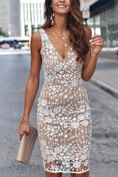 Elegant Womens Applique Sleeveless V-neck Mid Sheath Petite Dress in White