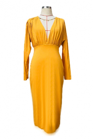 Elegant Womens Yellow Long Sleeve V-neck Mid Bodycon Work Dress for Special Occasion