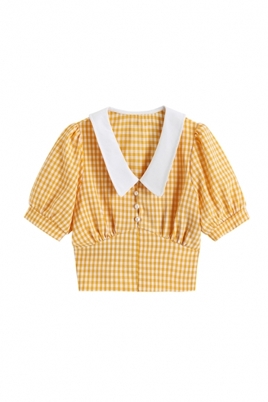 Gorgeous Womens Plaid Pleated Button Detail Peter Pan Collar Short Puff Sleeve Slim Fit Crop Blouse in Yellow