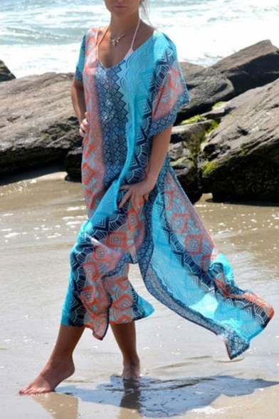 Holiday Ladies Allover Geo Printed Batwing Sleeves Round Neck Split Sides Semi-sheer Maxi Oversize Dress in Blue