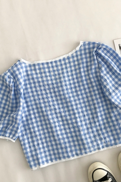 New Stylish Womens Plaid Button Down Patchwork Crew Neck Short Puff Sleeve Loose Fit Cropped Shirt