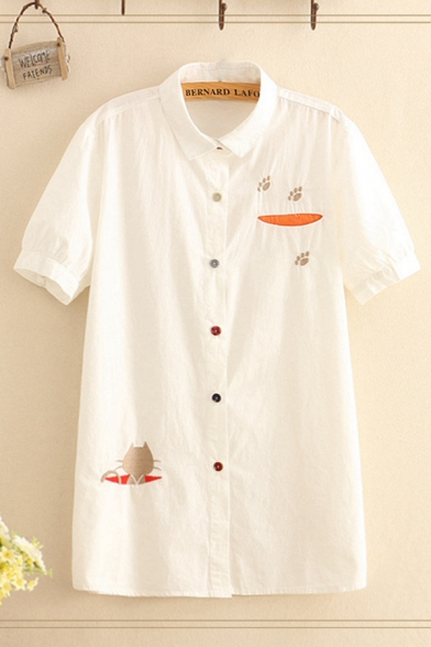 Preppy Girls Checkered Floral Cartoon Embroidered Short Sleeve Turn down Collar Colorful Button down Long Loose Shirt