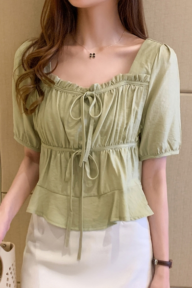 Solid Color Stringy Selvedge Bow Tied Ruched Short Sleeve Square Neck Regular Fit Stylish Shirt for Ladies